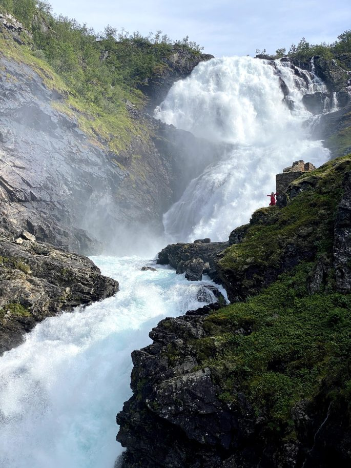 waterfall in Norway with a huldra