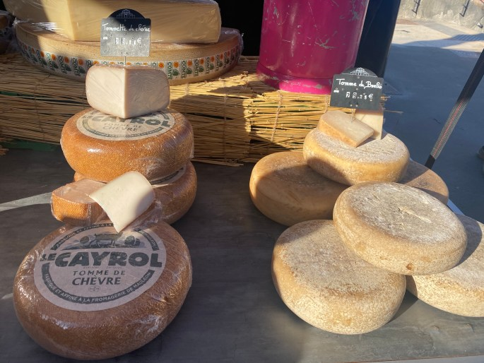 Cheese at a market in France