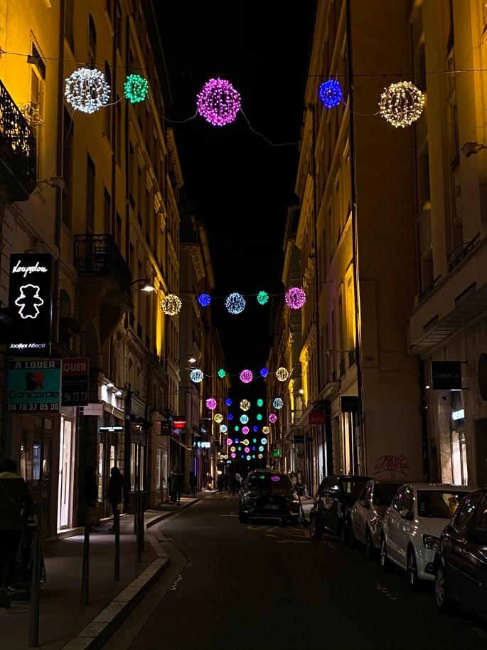 christmas spirit in Lyon, France. christmas street lights
