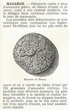 Source unknown. History of French macarons. Old advertisement of an original French macaron
