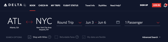 delta.com screenshot showing how to save money by utilizing a travel hack and booking with points