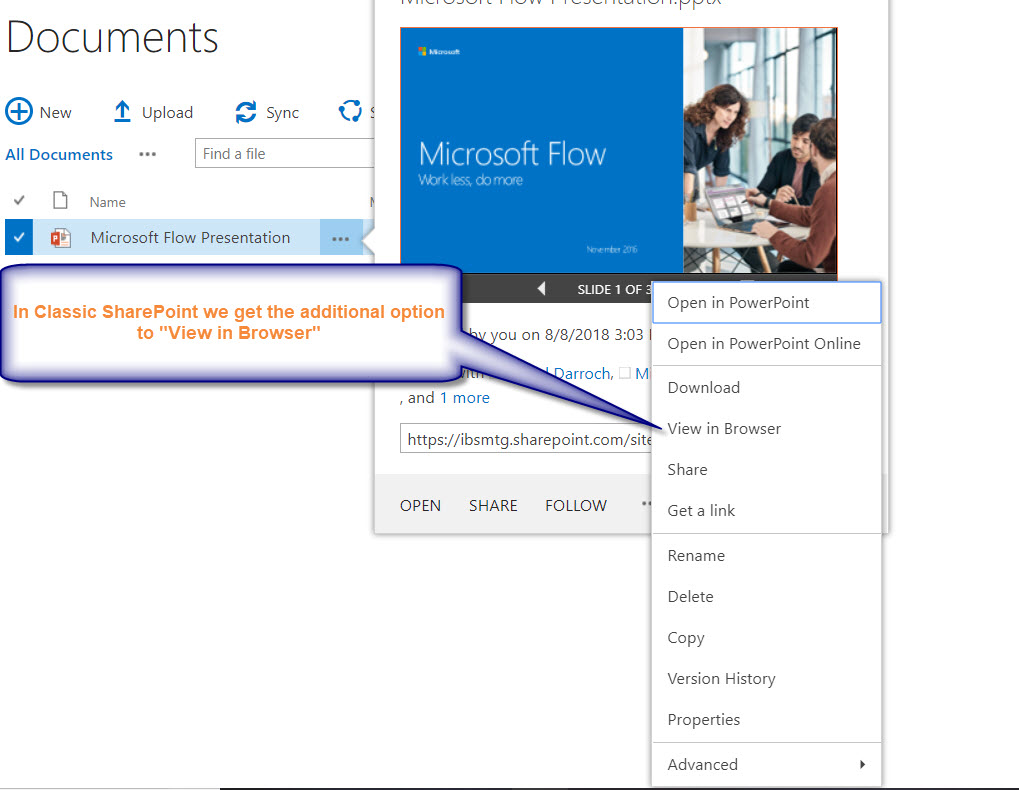 Classic SharePoint Open In Options