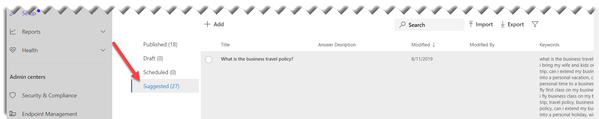 screenshot of Microsoft search admin center