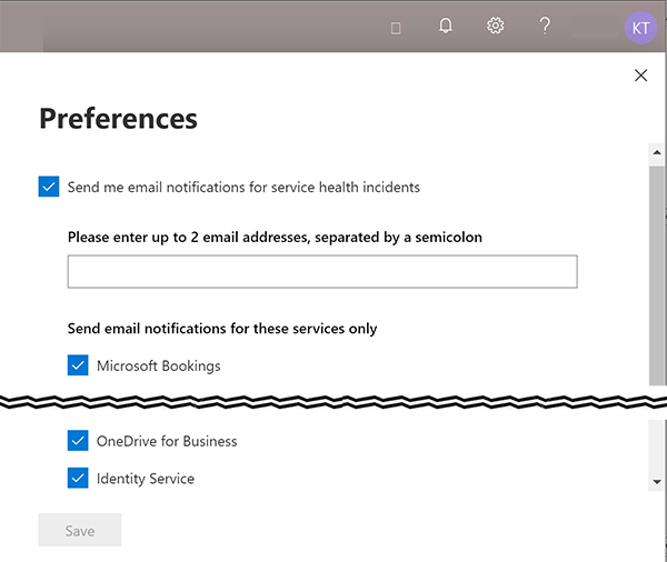 Screenshot of Service Health Preferences