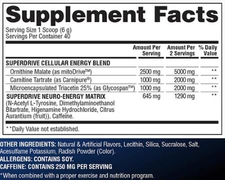 Composição SuperDrive Gaspari Nutrition