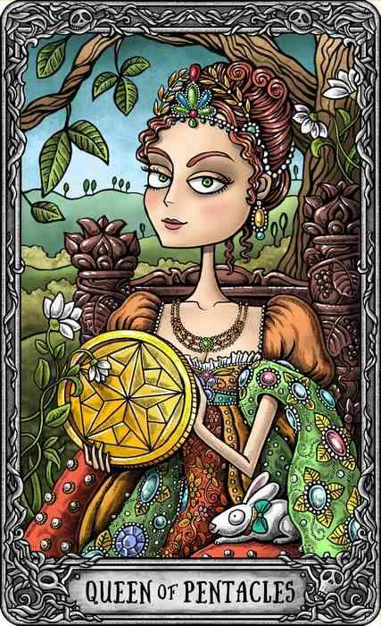 Arcano Menor do Tarot com linda Rainha de Ouros colorida