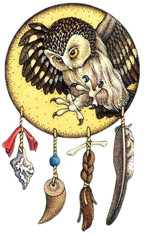Filtro do sonhos xamânico com a coruja