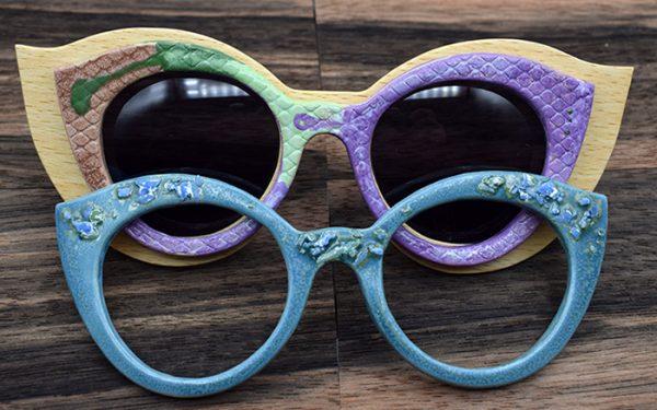 Gafas de Nardaya elaboradas en madera combinada con cerámica.