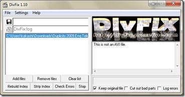 DivxFix, repara archivos Avi dañados