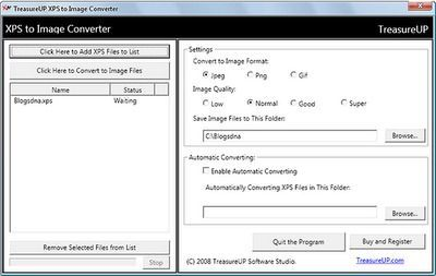 Como convertir ficheros XPS en JPEG, GIF y PNG