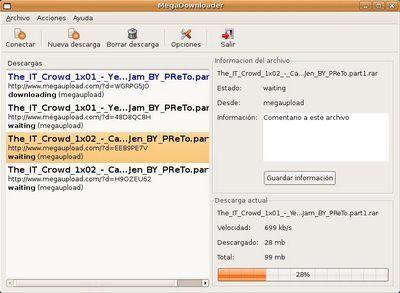 megadownloader Gestores de descargas para Megaupload y Rapidshare en Linux