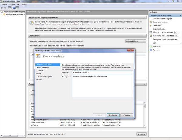 Apagado programado en Windows