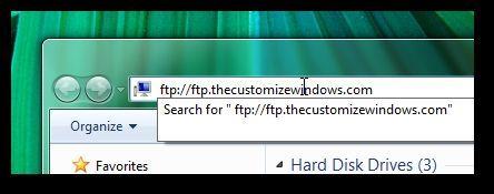 Direccion del servidor FTP en la barra de direcciones del explorador