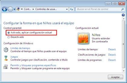 Control Parental Controles de usuario Cómo limitar las horas de la sesión en Windows 7