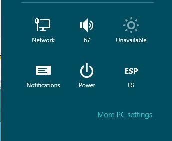 Configuraciones a traves de la Charm Bar de Windows 8