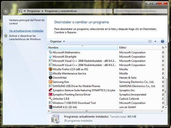 Ver las actualizaciones instaladas en Windows 7