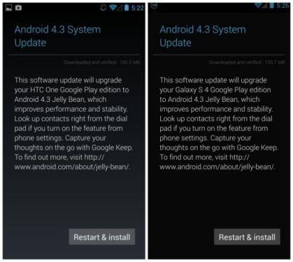 HTC One y Samsung Galaxy S4 GPE reciben Android 4.3