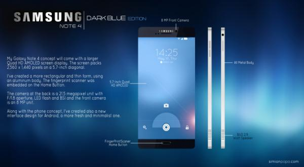 Samsung Galaxy Note 4 un concepto brillante e impresionante