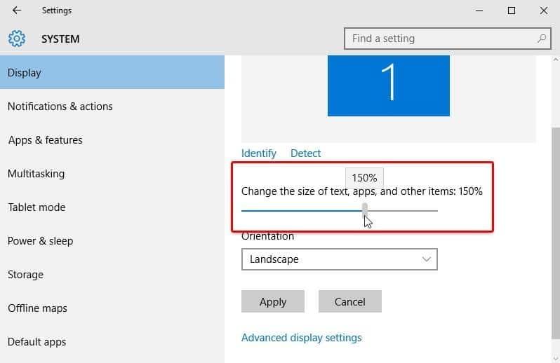 Variar el tamaño de fuente en Windows 10