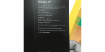 Caja del Samsung Galaxy S9 donde se muestran las especificaciones y/o características de este terminal.