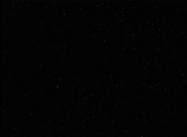 Image of the night sky. Noise in this still-unprocessed image makes it difficult to see how many stars are actually visible. Click for larger version. Credit: NASA / JPL-Caltech / MSSS.