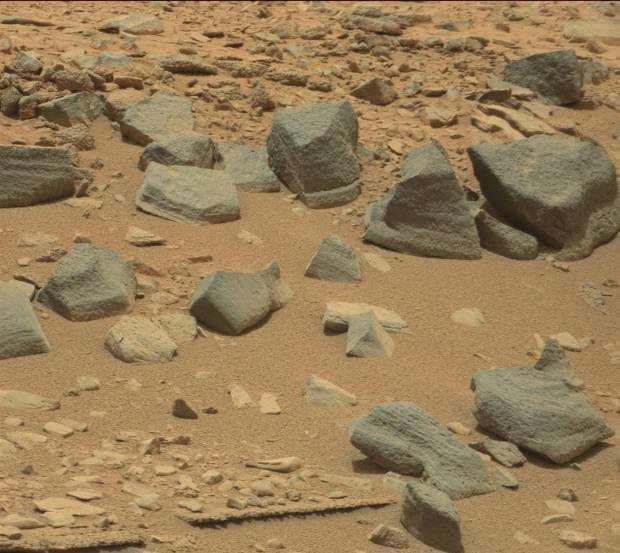 Darker rocks and boulders at Shaler on sol 309. Credit: NASA / JPL-Caltech