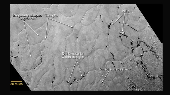 Closer view of Sputnik Planum, showing the convection cells, icebergs (hills) and pits. Image Credit: NASA/JHUAPL/SwRI
