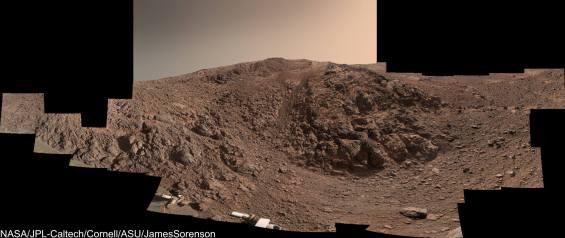 Panoramic view of Knudsen Ridge, where Opportunity has been climbing a steep 30 degree slope. Image Credit: NASA/JPL-Caltech/Cornell/ASU/James Sorenson