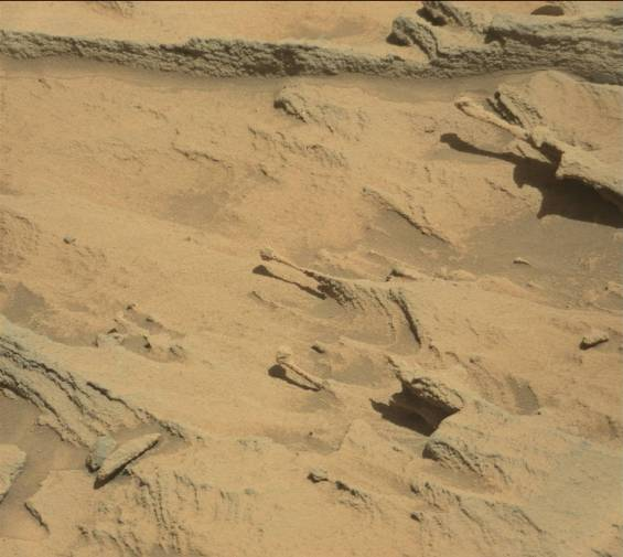 Long, spindly and delicate rock formations created by blowing sand. Photo Credit: NASA/JPL-Caltech
