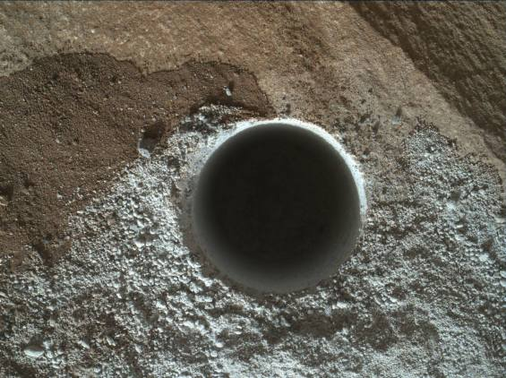 Curiosity's latest drill hole, in the Lubango outcrop on the Naukluft Plateau. Photo Credit: NASA/JPL-Caltech
