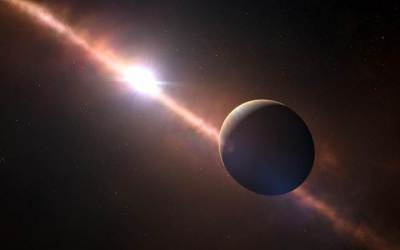 Artist's conception of exoplanet Beta Pictoris b orbiting its star. Image Credit: L. Calcada / N. Risinger / ESO / Skysurvey.org