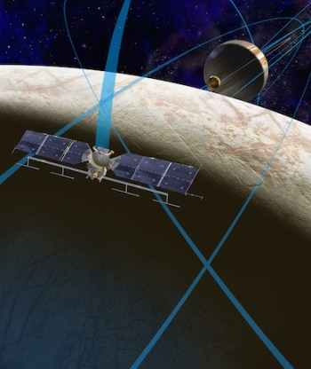Artist's conception of the Europa Clipper as it conducts multiple flybys of Europa. Image Credit: NASA/JPL-Caltech