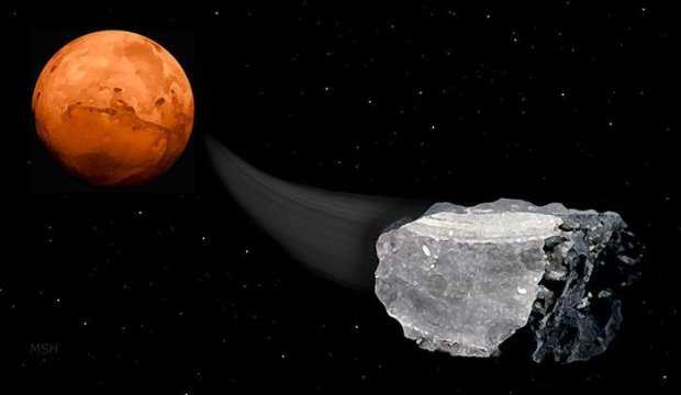 Methane has been discovered in some meteorites originating from Mars. Could it be a clue to life? Image Credit: Michael Helfenbein
