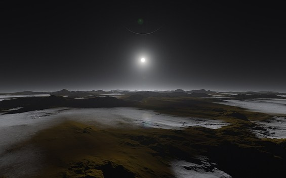 Artist's conception of Pluto's surface, with the distant Sun and largest moon Charon in the sky. The surface is frozen now, but evidence suggests that rivers and lakes of liquid nitrogen once flowed here. Image Credit: NASA/Johns Hopkins University Applied Physics Laboratory/Southwest Research Institute/Alex Parker