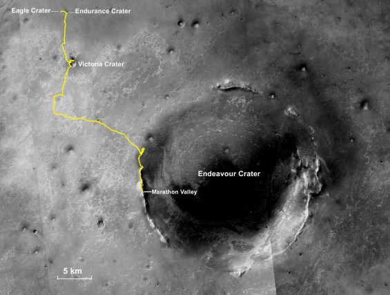 Route map showing the traverse of Opportunity since landing in Eagle crater in 2004. It then traveled to Victoria crater before heading to Endeavour crater where it still is today. Image Credit: NASA/JPL-Caltech
