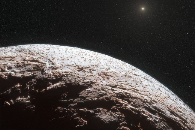 The newly discovered object called Niku is a real oddity (artist's conception). It is also part of a group of many such objects far past Neptune in the outer Solar System. Image Credit: ESO/L. Calçada/Nick Risinger