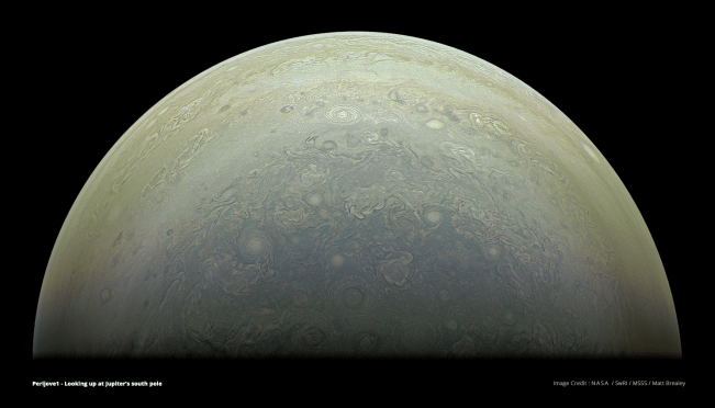 Partial view of Jupiter's south pole. Image Credit: NASA/SwRI/MSSS/Matt Brealey