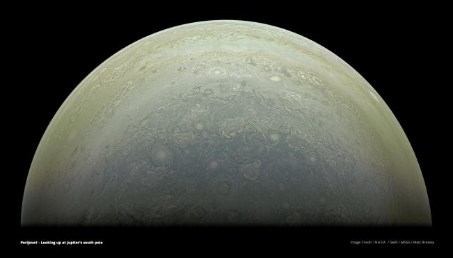 Partial view of Jupiter's south pole. Image Credit: NASA/SwRI/MSSS/Matt Brealey