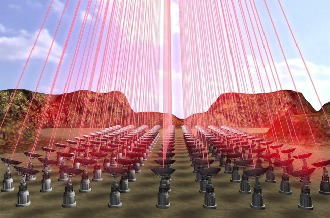 Breakthrough Starshot would use laser arrays to shoot lasers at the lightsails attached to the wafersats, propelling them. Image Credit: Breakthrough Initiatives