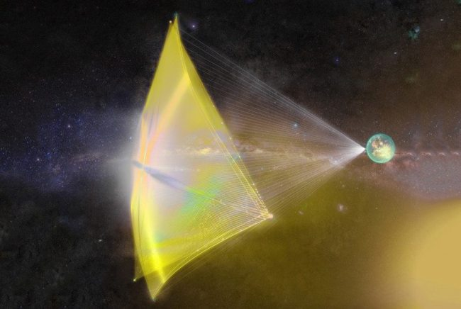 "Artist's conception of a Breakthrough Starshot spacecraft, a tiny circuit board-like ""wafer"" attached to a lightsail. Image Credit: Breakthrough Initiatives"