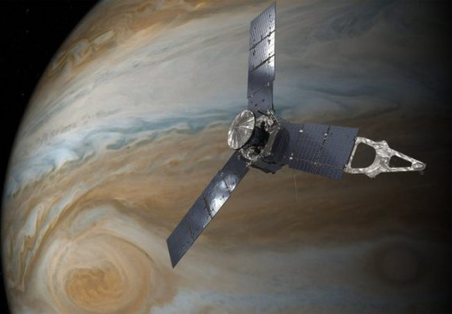 Artist's conception of Juno orbiting Jupiter. Image Credit: NASA