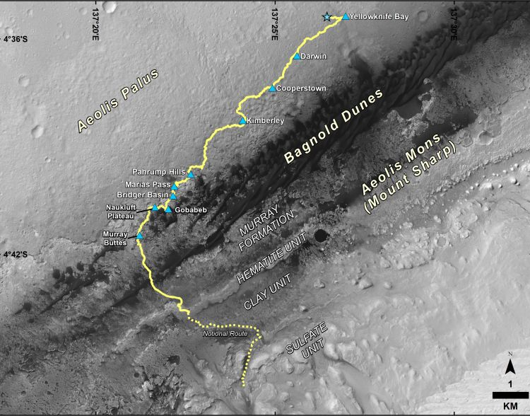 Map showing the route Curiosity has taken since landing in August 2012, as well as the planned path beyond Murray Buttes. Image Credit: NASA/JPL-Caltech/Univ. of Arizona