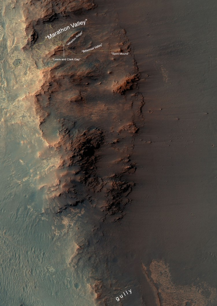 Map showing the location of Opportunity right now, at Spirit Mound, just outside of Marathon Valley. Soon, the rover will head toward the gully to the south. Image Credit: NASA/JPL-Caltech/Univ. of Arizona