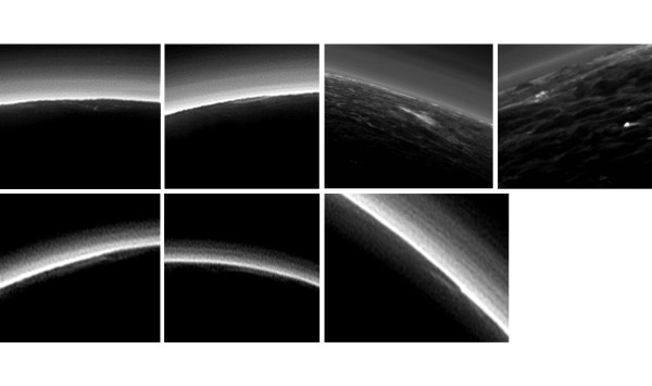 Images of possible clouds on Pluto, as seen by New Horizons. The other bright layers are haze in the thin atmosphere. Image Credit: NASA/JHUAPL/SwRI