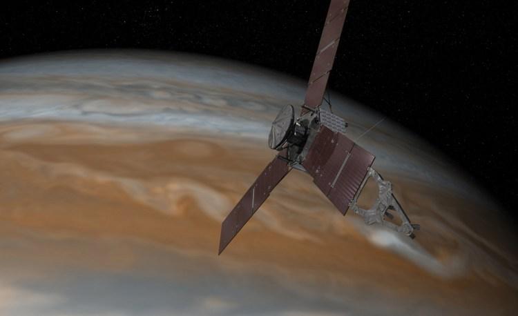 Artist's conception of Juno orbiting Jupiter. Image Credit: NASA