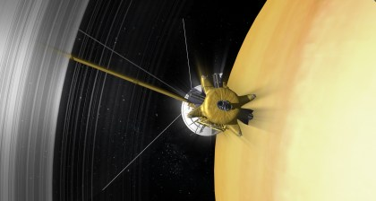 In April 2017, Cassini will fly through the gap between Saturn's rings and the cloud tops for the first time as part of the Grand Finale before plunging into the atmosphere in September. Image Credit: NASA/JPL-Caltech