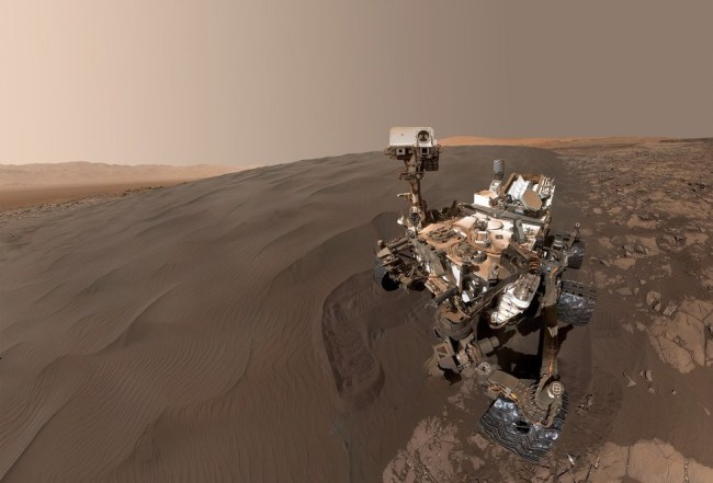 "A ""self-portrait"" of Curiosity beside one of the dunes in the Bagnold Dunes. Image Credit: NASA/JPL-Caltech/MSSS"