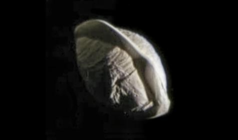 "Saturn's tiny moon Pan, which orbits inside the Encke Gap of the rings. A thin ""skirt"" or ridge of material surrounds the moon's equator, giving it a ""ravioli"" or ""dumpling"" appearance. Photo Credit: NASA/JPL-Caltech/Space Science Institute/Ian Regan"