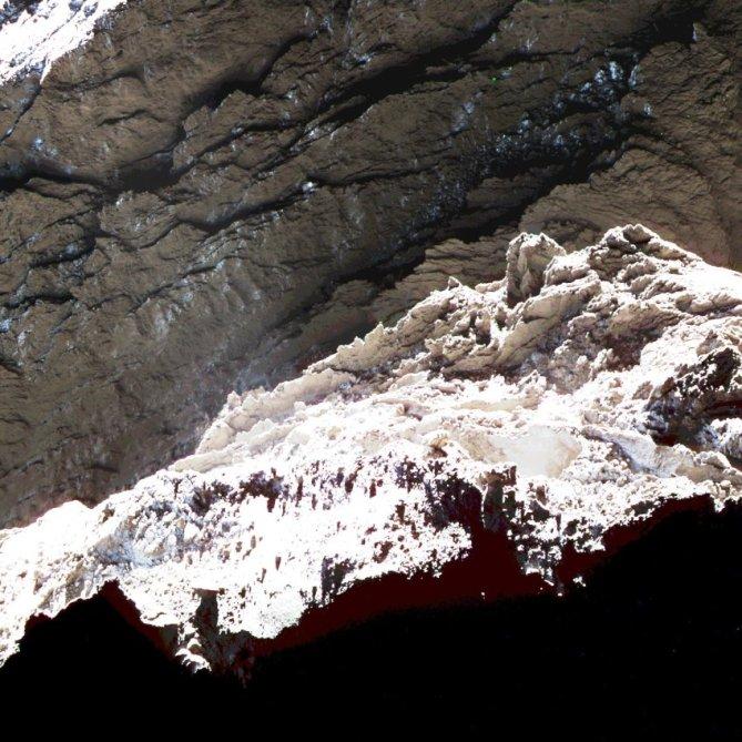 Close-up view of comet 67P/Churyumov–Gerasimenko. Photo Credit: European Space Agency/JR