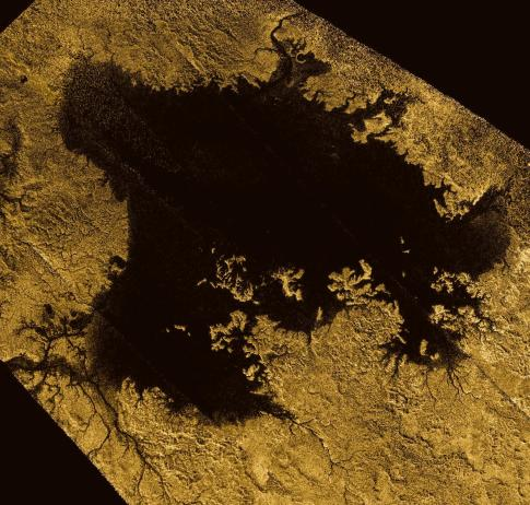 Radar image of Ligeia Mare, the second-largest methane/ethane sea on Titan. Image Credit: NASA/JPL-Caltech/ASI/Cornell